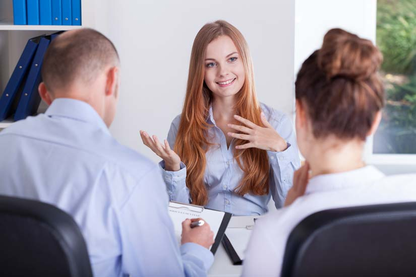 Young person in a job interview